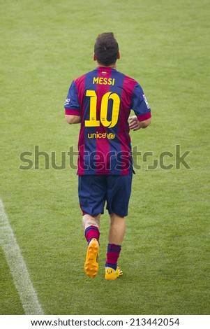 BARCELONA, SPAIN - AUGUST 18: Leo Messi presentation in front of the home supporters before Gamper match between FC Barcelona and Club Leon, 6-0, on August 18, 2014, in Camp Nou, Barcelona, Spain. - stock photo