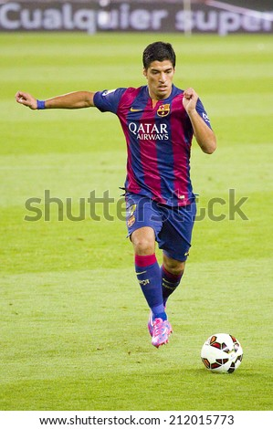 BARCELONA, SPAIN - AUGUST 18: Luis Suarez in action at Gamper friendly match between FC Barcelona and Club Leon FC, final score 6-0, on August 18, 2014, in Camp Nou, Barcelona, Spain.