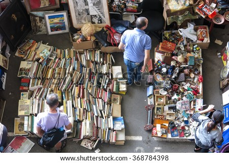 BARCELONA, SPAIN - AUGUST 1, 2015: Top view of Flea market in Barcelona, Spain. Mercat Fira de Bellcaire is one of the oldest markets in Europe, has been known since the 14th century - stock photo