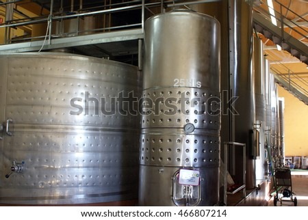 BARCELONA, SPAIN - CIRCA OCTOBER 2013: Stainless steel vessels for fermenting at a winery