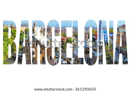 Barcelona, Spain - city name sign with photo in background. Isolated on white. - stock photo