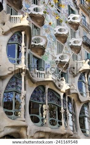 BARCELONA, SPAIN - DEC. 02, 2014: Casa Batllo, designed by Antoni Gaudi in Barcelona. Spain - stock photo