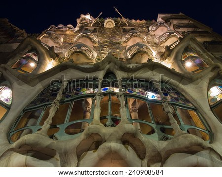 BARCELONA, SPAIN - DEC 6: Casa Batllo Facade. The famous building designed by Antoni Gaudi is one of the major touristic attractions in Barcelona. May 24, 2014 in Barcelona, Spain. - stock photo