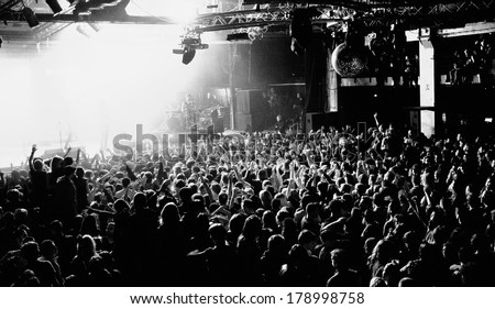 BARCELONA, SPAIN - DEC 10,2011: Friendly Fires band performs at Razzmatazz  - stock photo