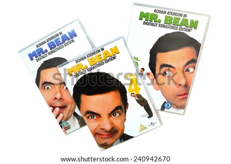 BARCELONA, SPAIN - DEC 27, 2014: Mr. Bean, British television programme series written by and starring Rowan Atkinson as the title character, on DVD edition, isolated on white background. - stock photo