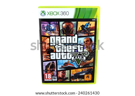 BARCELONA, SPAIN - DEC 27, 2014: The famous video game GTA V, also known as Grand Theft Auto, released by Rockstar, for Xbox 360 devices, isolated on white background. - stock photo