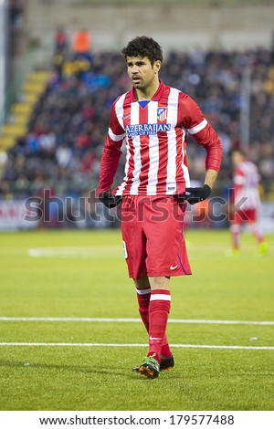 BARCELONA, SPAIN - DECEMBER 7: Diego Costa of Atletico in action at Spanish Cup match between Sant Andreu and Atletico de Madrid, final score 0-4, on December 7, 2013, in Barcelona, Spain. - stock photo