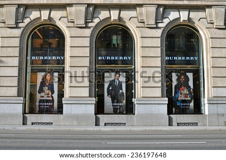 BARCELONA, SPAIN - DECEMBER 8: Facade of Burberry flagship store in the street of Barcelona on December 8, 2014. Burberry is a luxurious clothing brand based in Great Britian.  - stock photo