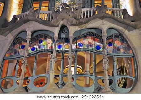 BARCELONA, SPAIN - DECEMBER 26: Facade of the Casa Batllo by Gaudi in Barcelona on December 26, 2014. Barcelona is the capital city of Catalonia, Spain.    - stock photo
