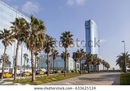 BARCELONA,SPAIN-DECEMBER 9,2015: Modern and contemporary architecture, iconic building city,hotel w,designed by Ricard Bofill, Barceloneta quarter,Barcelona.