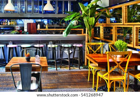 Cafe design stock images royalty free images vectors shutterstock barcelona spain 20 december 2016 the interior design of a restaurant and seating malvernweather Choice Image