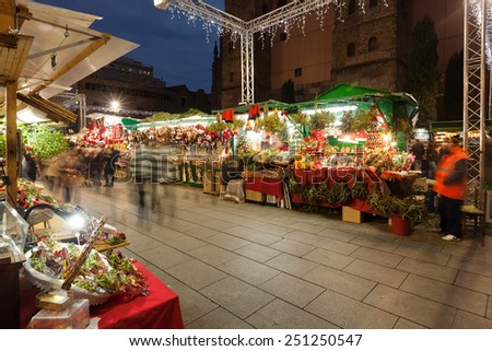 BARCELONA, SPAIN - DECEMBER 2: Traditional toys and gifts at Christmas Market in night on December 2, 2013 in Barcelona, Spain