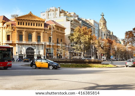 BARCELONA, SPAIN - december 11, 2015: Typical architecture of one urban district in Barcelona, Spain. - stock photo