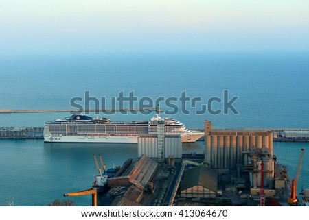 BARCELONA, SPAIN - december 12, 2015: View of the loading dock of goods and cruise terminal at the port of Barcelona, Spain - stock photo