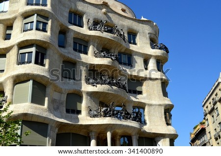 BARCELONA, SPAIN, EUROPE - May 06, 2015: Casa Mila, La Pedrera is a modernist building the last civil work designed from the catalan architect Antoni Gaudi in Barcelona protect by Unesco  - stock photo