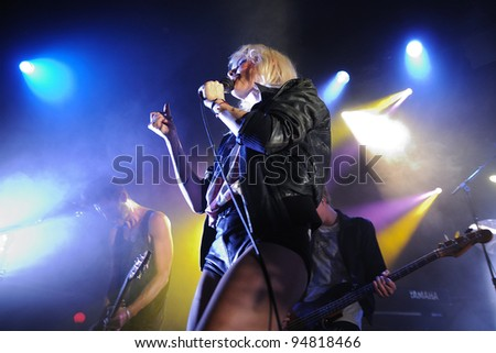 BARCELONA, SPAIN - FEB 09: Maja Ivarsson, blonde singer of The Sounds band, performs at Apolo on February 09, 2012 in Barcelona, Spain.