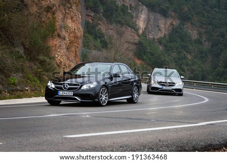 Barcelona,Spain Feb 20, 2013 : Mercedes-Benz E-Class test drive on Feb 20 2013 in Barcelona,Spain. - stock photo