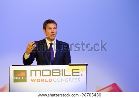 BARCELONA, SPAIN - FEB 27: René Obermann, Chairman & CEO, Deutsche Telekom speaks about Exploring the Mobile Cloud at the GSMA MWC 2012 on Feb 27, 2012 in Barcelona, Spain - stock photo