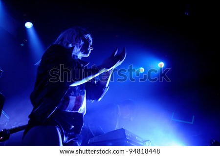 BARCELONA, SPAIN - FEB 09: The Sounds band performs at Apolo on February 09, 2012 in Barcelona, Spain.