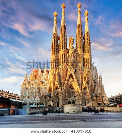 BARCELONA, SPAIN - FEB 10: View of the Sagrada Familia, a large Roman Catholic church in Barcelona, Spain, designed by Catalan architect Antoni Gaudi, on February 10, 2016. Barcelona - stock photo