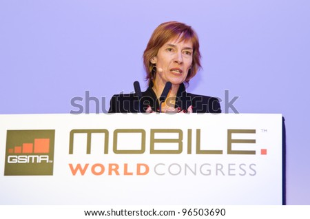 BARCELONA, SPAIN - FEBRUARY 26: Anne Bouverot , Director General of GSMA, speaks at the Opening Keynote of the MWC 2012, on February 26, 2012 in Barcelona, Spain - stock photo