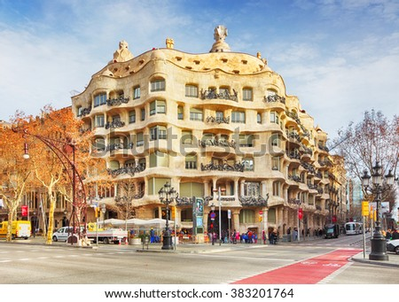 BARCELONA, SPAIN - FEBRUARY 9 Architecture detail of Casa Mila, better known as La Pedrera, designed by Antoni Gaudi, in Barcelona, Spain, on Ferbuary 9, 2016. - stock photo