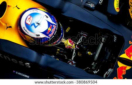 BARCELONA, SPAIN - FEBRUARY 22: Dani Ricciardo of RedBull at first day of Formula One Test Days at Catalunya Circuit on February 22, 2016 in Barcelona, Spain.