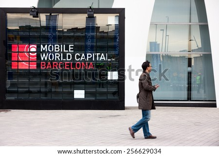 BARCELONA, SPAIN FEBRUARY 28: Every year, tens of thousands of reporters, analysts, and businesspeople attend the  Mobile World Congress trade show in Barcelona. February 28, 2015 in Barcelona, Spain