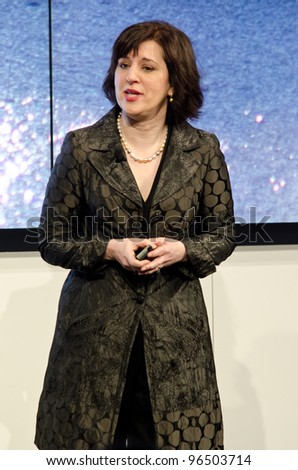 BARCELONA, SPAIN - FEBRUARY 26: Mary McDowell, executive Vice President of NOKIA launches the Mobile Worlds Congress 2012 with a press conference on February 26, 2012 in Barcelona, Spain - stock photo