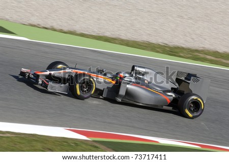 BARCELONA, SPAIN - FEBRUARY 18: Narain Karthikeyan drives for the Hispania Racing F1 team during testing at the Circuit de Catalunya February 18, 2011 in Barcelona, Spain.