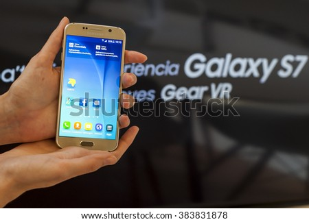 BARCELONA, SPAIN - FEBRUARY 27, 2016: New Samsung Galaxy S6 presented at Mobile World Centre of Barcelona during Mobile World Congress 2016 in Barcelona, Spain. - stock photo
