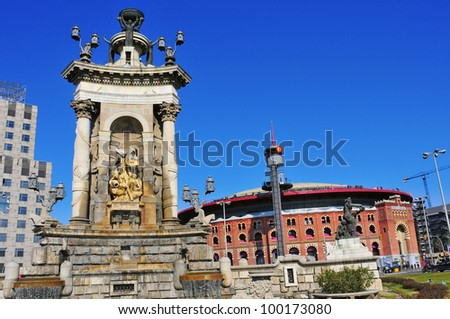 BARCELONA, SPAIN - FEBRUARY 12: Plaza de Espanya and Arenas bullring on February 12, 2011 in Barcelona, Spain. The old bullring, built in 1900, is since 2011 a shopping and leisure center - stock photo