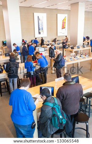 BARCELONA, SPAIN - FEBRUARY 26: Presentation center of Apple Inc in February 26, 2013 in Barcelona, Spain. February 29, 2012 market capitalization of more than $ 500 billion of USD