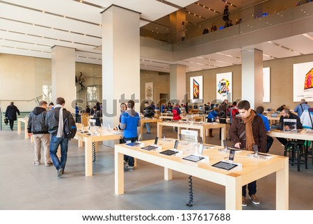 BARCELONA, SPAIN - FEBRUARY 26: Presentation center of Apple Inc in February 26, 2013 in Barcelona, Spain. In May 2011, Apple brand was recognized as the most expensive brand in the world