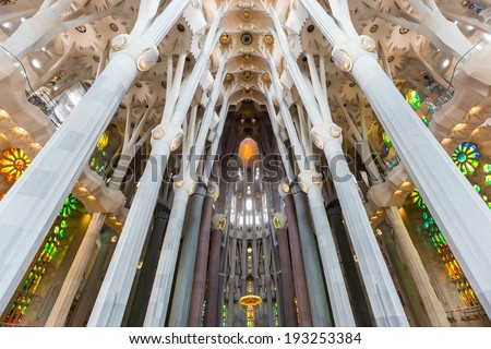 BARCELONA, SPAIN - FEBRUARY 27: Sagrada Familia, interior view on February 27, 2013 in Barcelona, Spain. Designed by Antoni Gaudi, the church is still incomplete. - stock photo