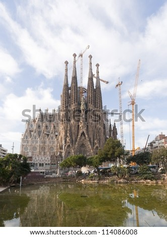 BARCELONA, SPAIN -FEBRUARY 07: Sagrada Familia on FEBRUARY 07, 2012: La Sagrada Familia - the impressive cathedral designed by architect Gaudi, which is being build since March 19, 1882