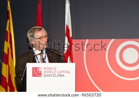 BARCELONA, SPAIN - FEBRUARY 26: The Mayor of Barcelona, Xavier Trias speaks at the official inauguration act at the Mobile World Congress 2012, on February 26, 2012 in Barcelona, Spain - stock photo