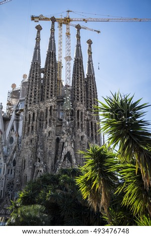 Barcelona, Spain - february 7, 2016: This year begins the final stretch of the construction of the Sagrada Familia by Gaudi. It is expected to finish it in 2026. It is ten years, only.