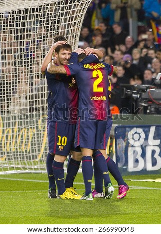 BARCELONA, SPAIN - JANUARY 27: FCB players celebrating a goal at the Spanish League match between FC Barcelona and Osasuna, final score 5 - 1, on January 27, 2013, in Barcelona, Spain. - stock photo