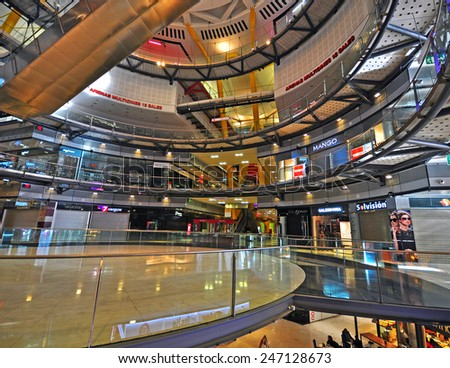 BARCELONA, SPAIN - JANUARY 18: Interior of the Arenas shopping centre in Barcelona on January 18, 2015. Barcelona is the secord largest city of Spain.