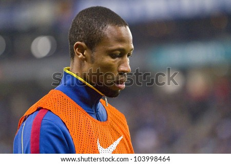 BARCELONA, SPAIN - JANUARY 8: Seydou Keita of Barcelona in action during the Spanish league match between RCD Espanyol and FC Barcelona, final score 1-1, on January 8, 2012, in Barcelona, Spain.