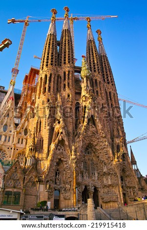 BARCELONA, SPAIN - JANUARY 15: The construction of Sagrada Familia, Catholic church designed by Antonio Gaudi in Barcelona, Spain on January 15, 2009. - stock photo