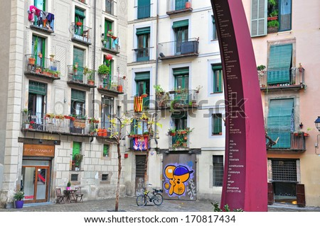 BARCELONA, SPAIN - JANUARY 13: Typical house of Born district in downtown of Barcelona on January 13, 2013. Barcelona is the second largest city of Spain.