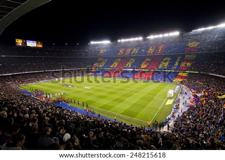 BARCELONA, SPAIN - JANUARY 25: View of Camp Nou stadium before the Spanish Copa del Rey match between FC Barcelona and Real Madrid, final score 2 - 2, on January 25, 2012, in Barcelona, Spain. - stock photo