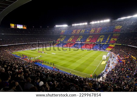 BARCELONA, SPAIN - JANUARY 25: View of Camp Nou stadium before the Spanish Cup match between FC Barcelona and Real Madrid, final score 2 - 2, on January 25, 2012, in Barcelona, Spain. - stock photo