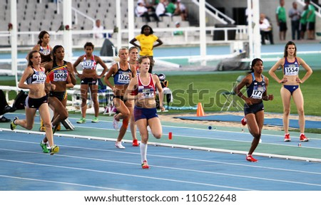 BARCELONA, SPAIN - JULY 13: Athletes in the 800 meters of the Heptathlon event on the 2012 IAAF World Junior Athletics Championships on July 13, 2012 in Barcelona, Spain.
