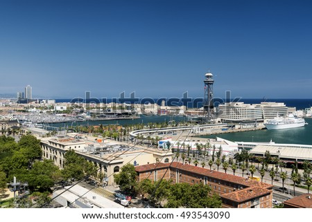 BARCELONA, SPAIN - JULY 12, 2016: Barcelona (Catalunya, Spain): panoramic view from the hill of Montjuic (Montjuich) of the Mediterranean Sea and the port