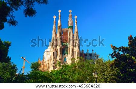 BARCELONA, SPAIN - 31 JULY 2012: Basilica and Expiatory Church of the Holy Family (Sagrada Familia). Roman Catholic church in Barcelona, designed by Catalan architect Antonio Gaudi. Barcelona, Spain. - stock photo