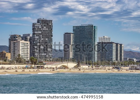 BARCELONA, SPAIN - JULY 13, 2016: Beach and New buildings at Sant Marti district, Barcelona, Spain