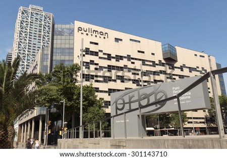 BARCELONA, SPAIN - JULY 4, 2015: Buildings of Pullman Barcelona Skipper Hotel. Hotel located nearby beaches, city center and the Olympic Port. - stock photo